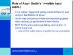 role of adam smith s invisible hand cont
