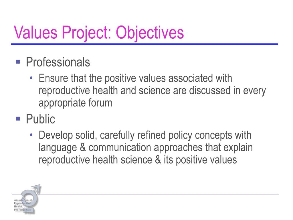 Values Project: Objectives