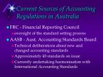 current sources of accounting regulations in australia