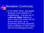 revelation continued