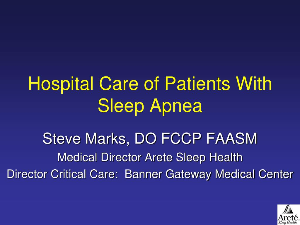 hospital care of patients with sleep apnea l.