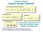 preliminary results system design tradeoffs