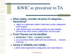 kwic as precursor to ta7