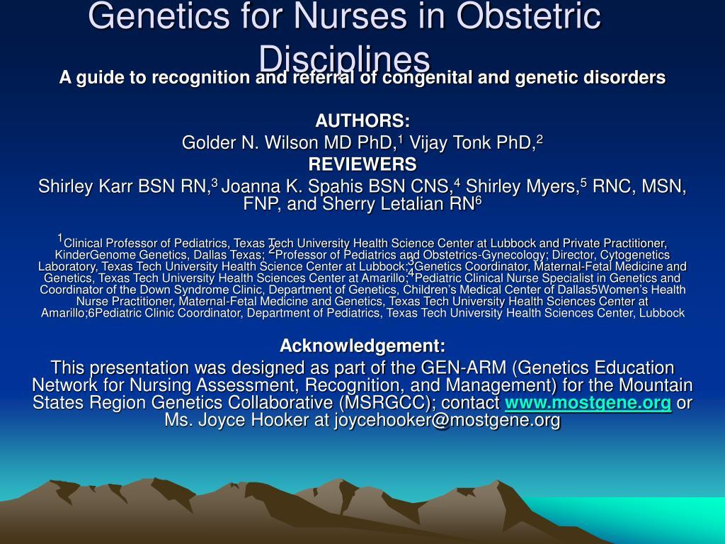 genetics for nurses in obstetric disciplines l.