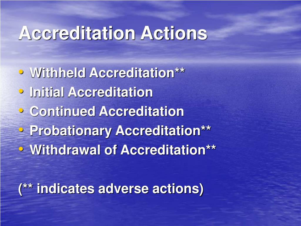 Accreditation Actions