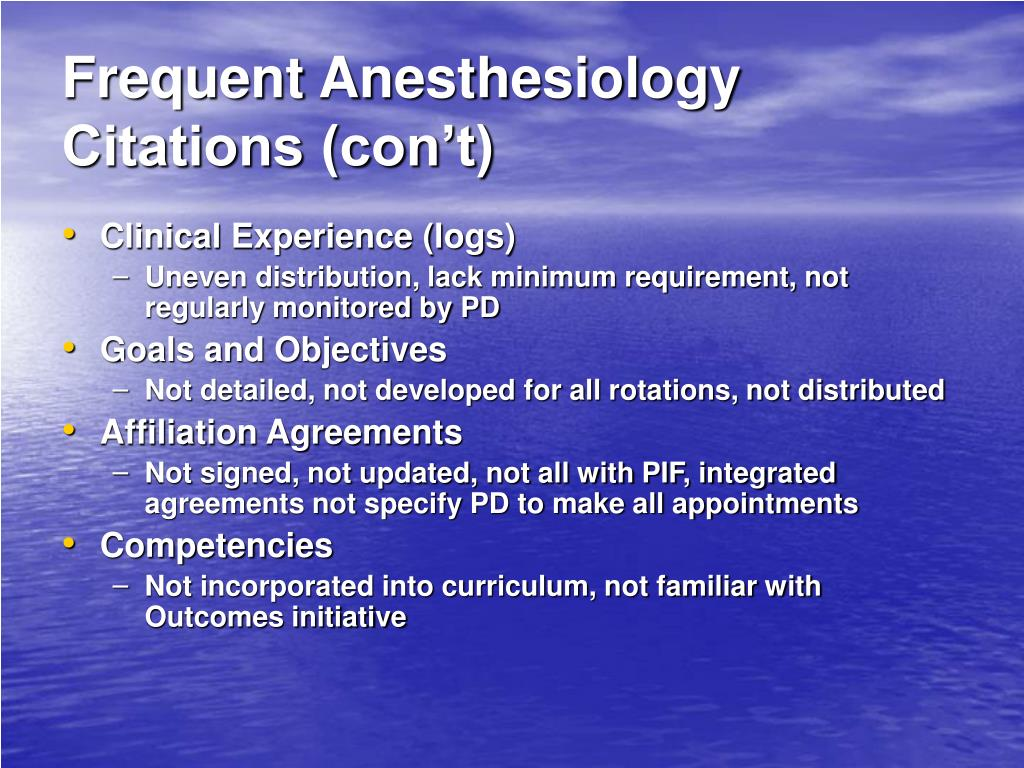 Frequent Anesthesiology Citations (con't)