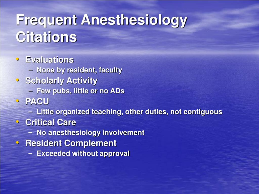 Frequent Anesthesiology Citations