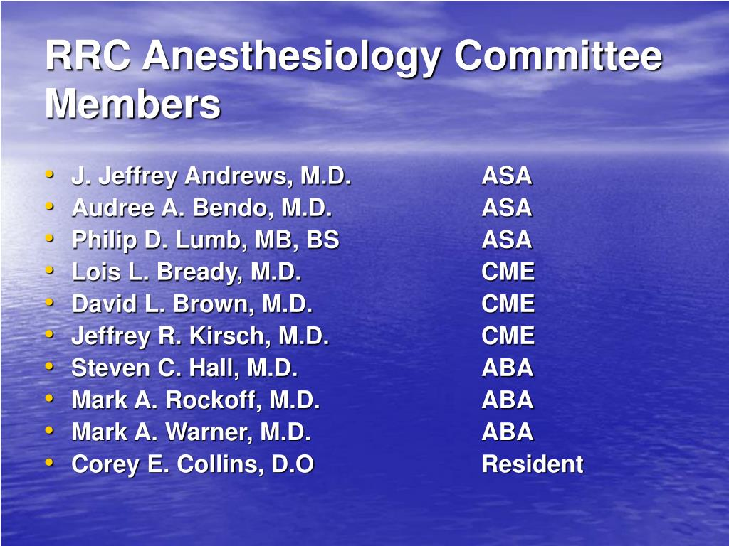 RRC Anesthesiology Committee Members