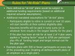 rules for at risk plans