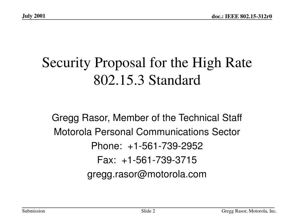 Security Proposal for the High Rate 802.15.3 Standard