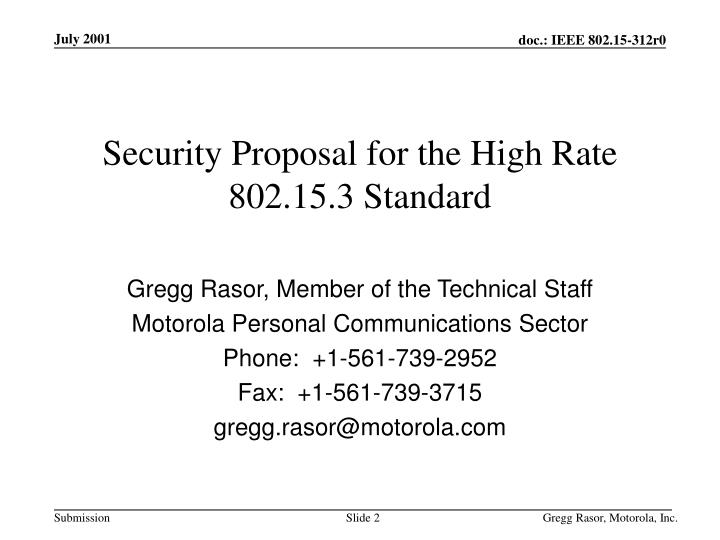 Security proposal for the high rate 802 15 3 standard