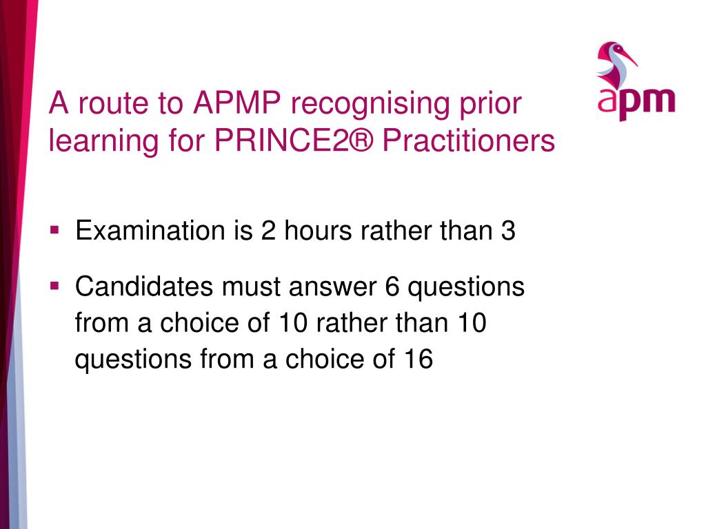 A route to APMP recognising prior learning for PRINCE2® Practitioners