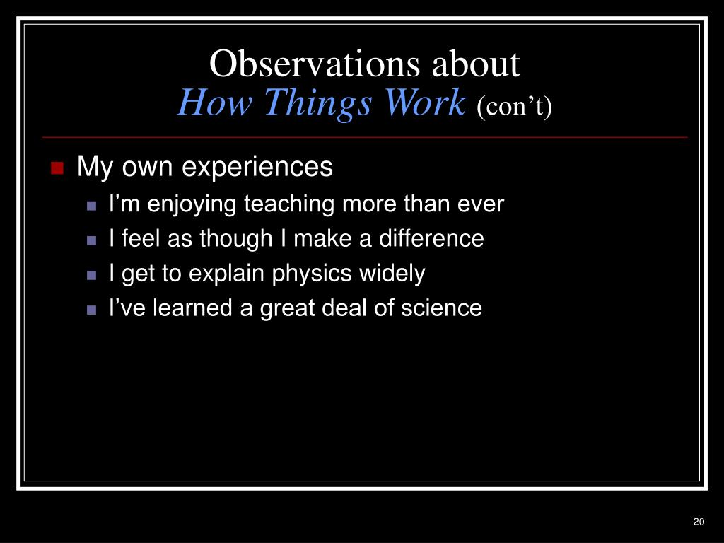 Observations about