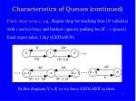 characteristics of queues continued