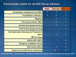 functionality matrix for arcgis server editions