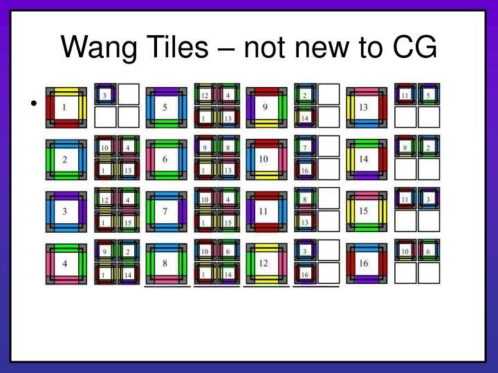 Wang tiles not new to cg
