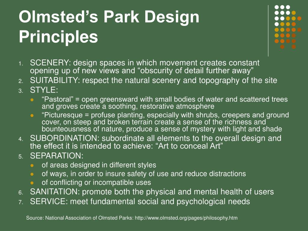 Olmsted's Park Design Principles
