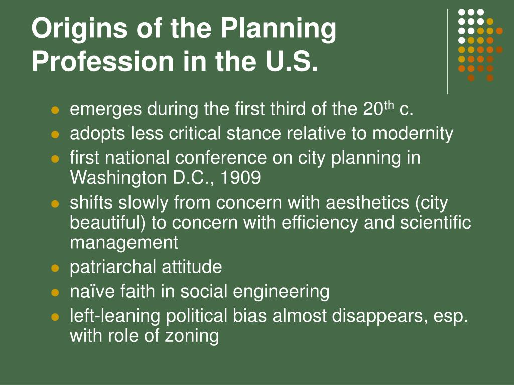 Origins of the Planning Profession in the U.S.
