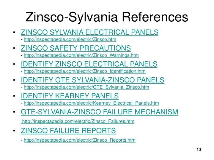 Zinsco-Sylvania References