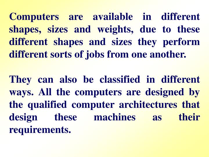 Computers are available in different shapes, sizes and weights, due to these different shapes and si...