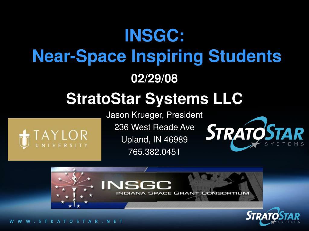 insgc near space inspiring students l.