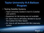 taylor university h a balloon program