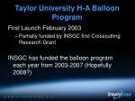 taylor university h a balloon program5