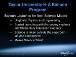 taylor university h a balloon program8