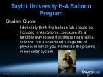 taylor university h a balloon program9