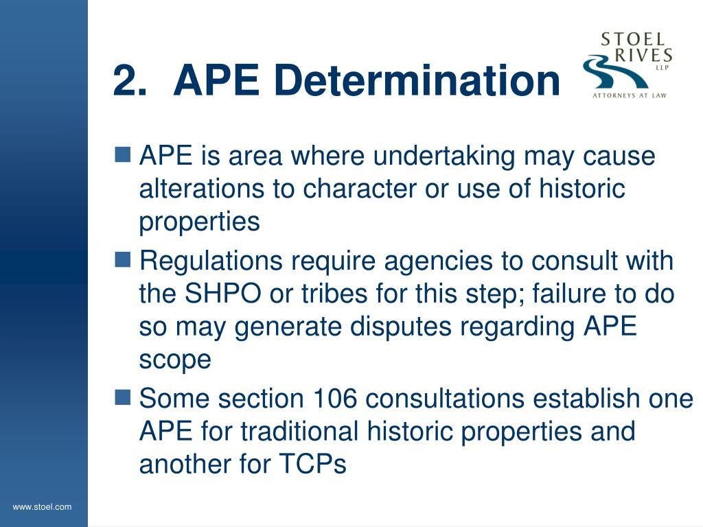 2.  APE Determination