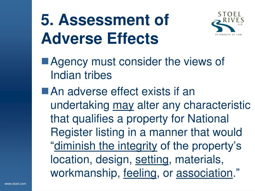 5. Assessment of