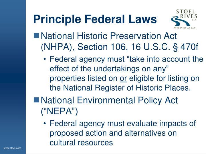 Principle federal laws