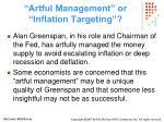 artful management or inflation targeting