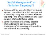 artful management or inflation targeting36