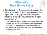 effect of a tight money policy