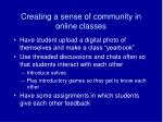 creating a sense of community in online classes
