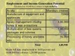 employment and income generation potential calculated on 10 000 bee colonies of apis mellifera