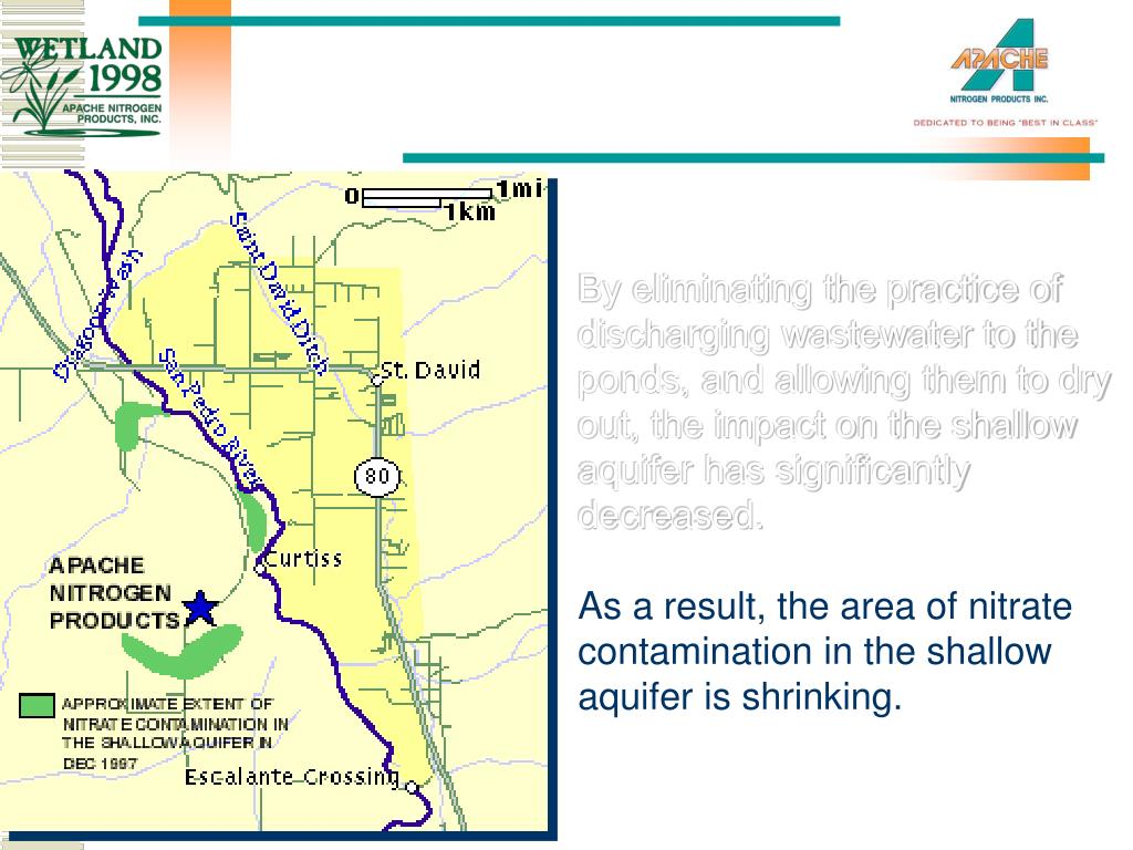By eliminating the practice of discharging wastewater to the ponds, and allowing them to dry out, the impact on the shallow aquifer has significantly decreased.