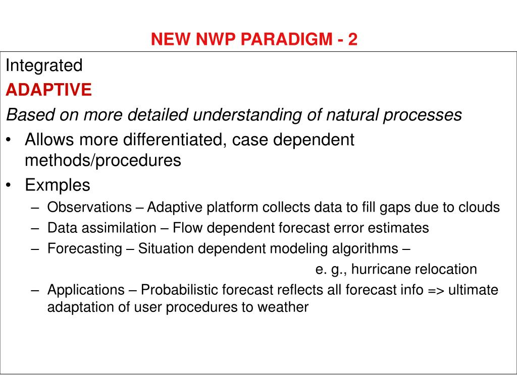 NEW NWP PARADIGM - 2