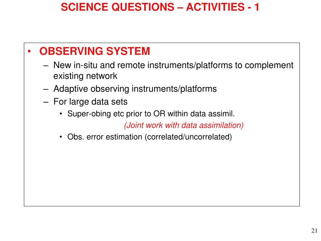 SCIENCE QUESTIONS – ACTIVITIES - 1