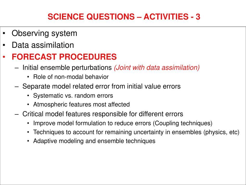SCIENCE QUESTIONS – ACTIVITIES - 3