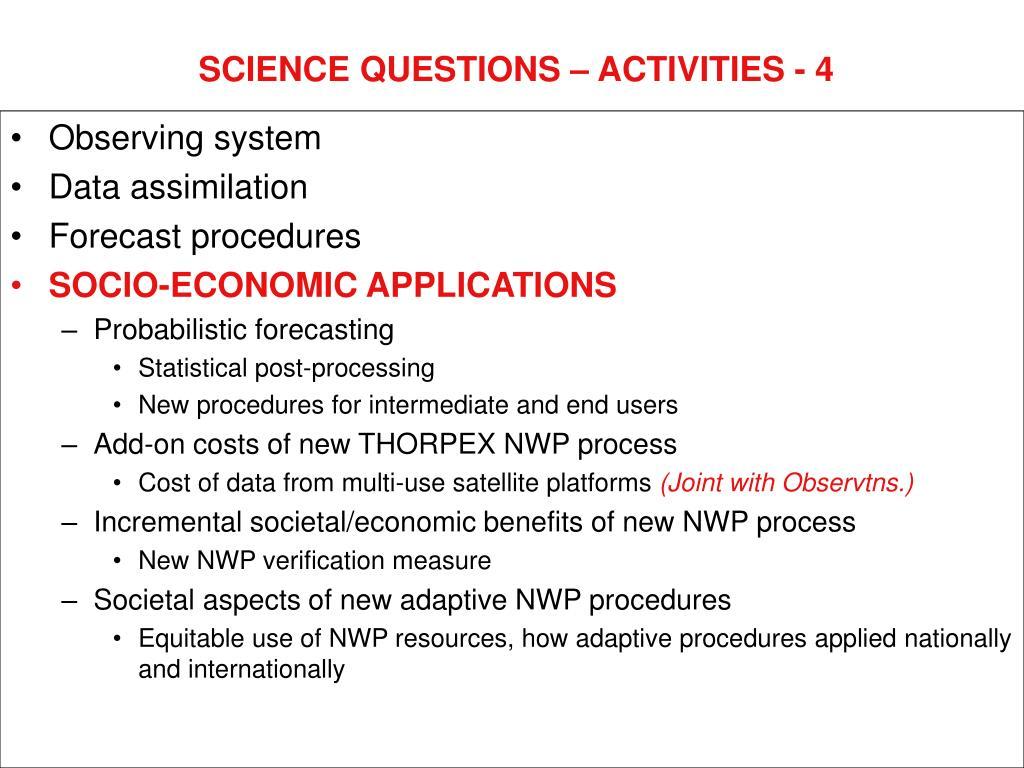 SCIENCE QUESTIONS – ACTIVITIES - 4