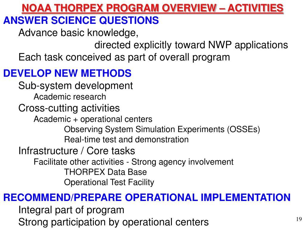 NOAA THORPEX PROGRAM OVERVIEW – ACTIVITIES