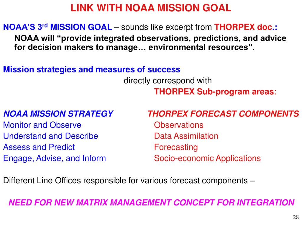 LINK WITH NOAA MISSION GOAL