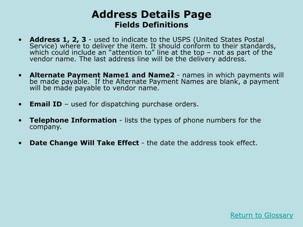 Address Details Page