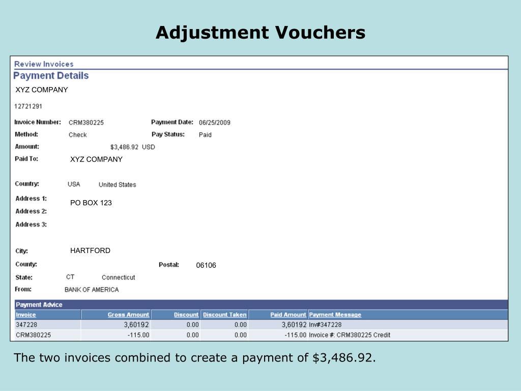 Adjustment Vouchers