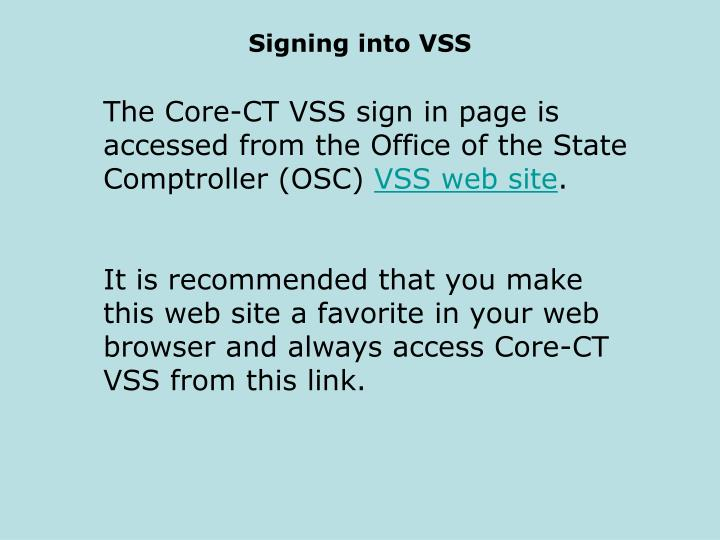 Signing into vss