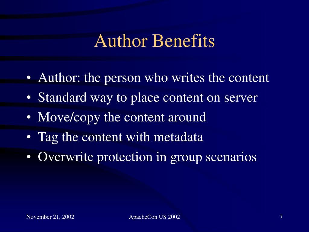 Author Benefits