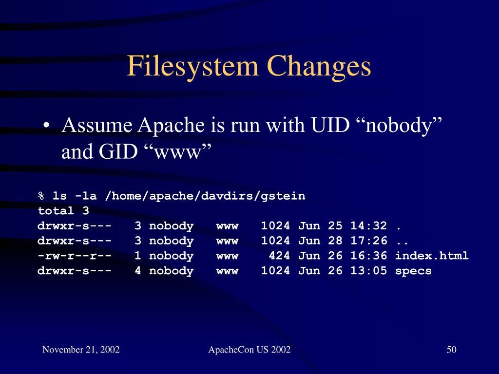 Filesystem Changes