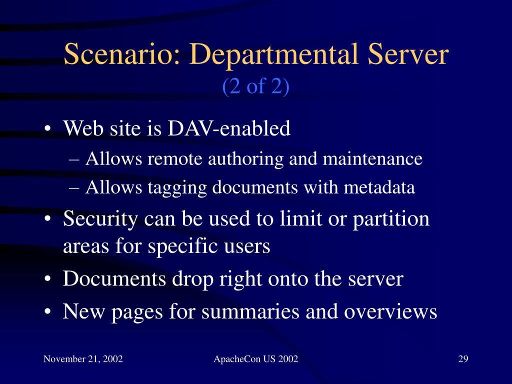 Scenario: Departmental Server
